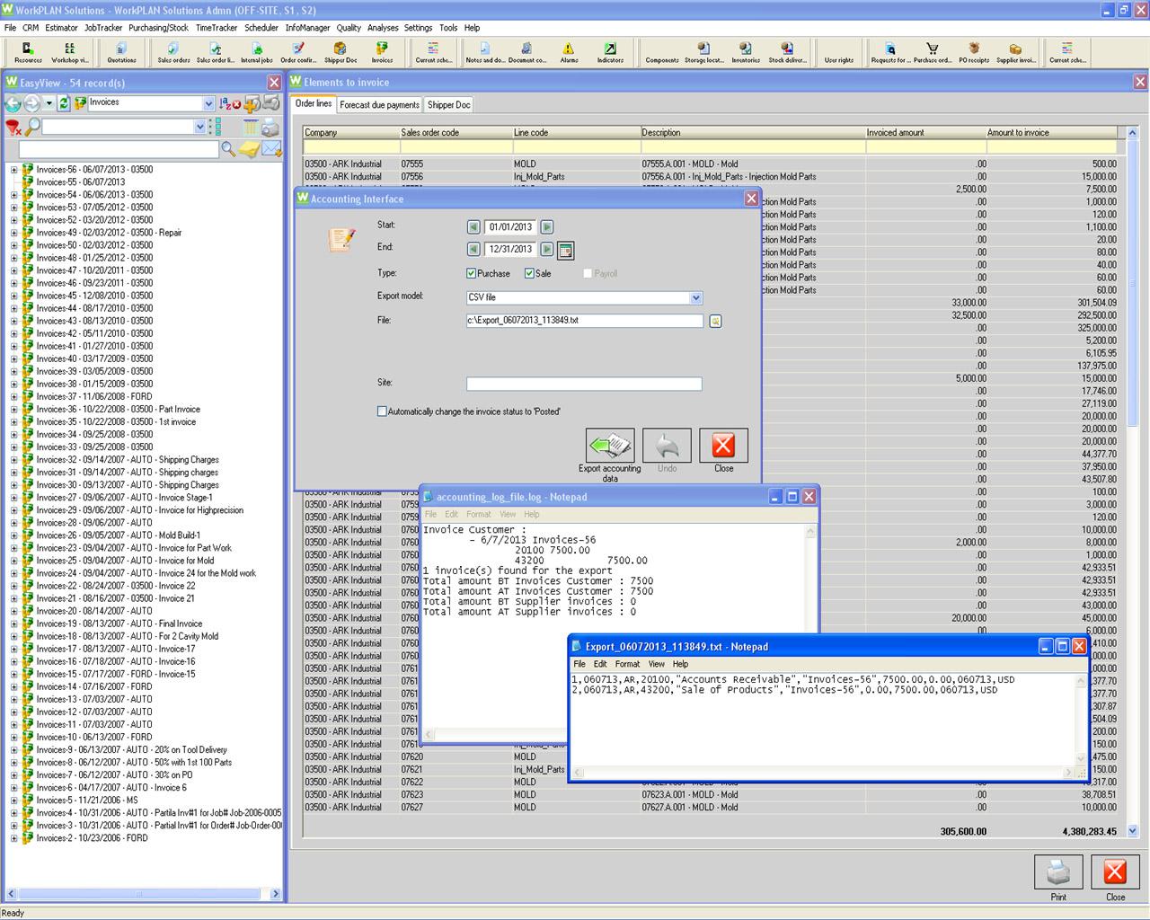 workplan interfaces